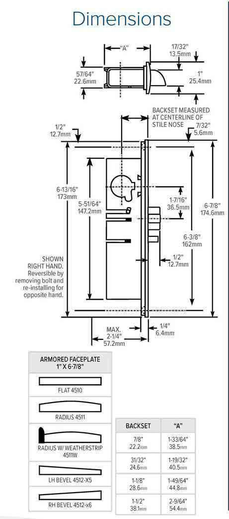 "Adams Rite - 4510 -  Standard Duty Deadlatch -  1-1/2""  Backset - LH /RHR - Mortised  2-5/8""  - FLT/ST - Flat Faceplate - Aluminum - Metal Door"