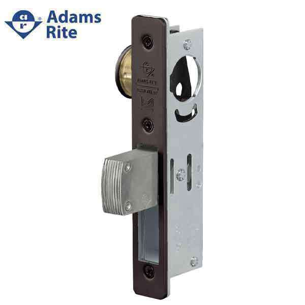 "Adams Rite - MS Deadlock - MS1850S - 1-1/2""  Backset - ANSI Size - Straight Bolt - Flat Faceplate -  Dark Bronze  - Metal Door"