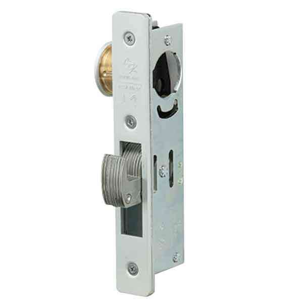 "Adams Rite - MS Deadlock - MS1850S-25X - 31/32""  Backset - ANSI Size - Hook Bolt - Flat Faceplate -  Aluminum  - Metal Door"