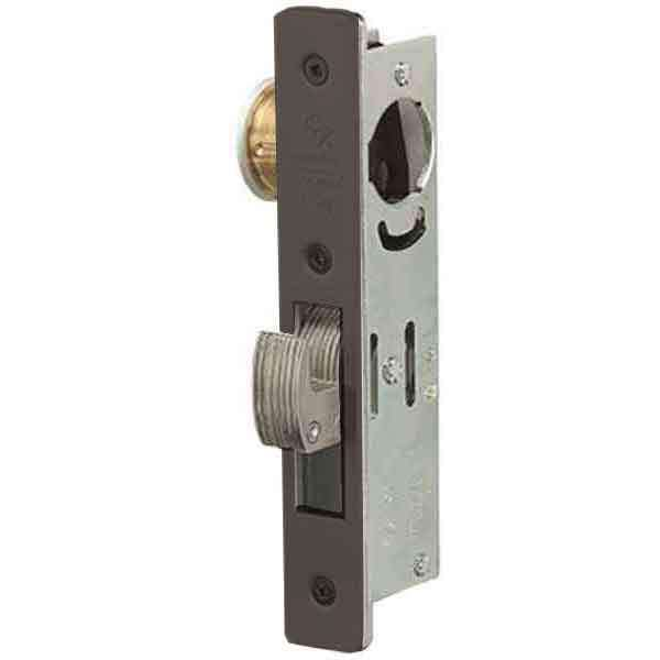 "Adams Rite - MS Deadlock - MS1850S-35X - 1-1/8""  Backset - ANSI Size - Hook Bolt - Flat Faceplate -  Dark Bronze  - Metal Door"