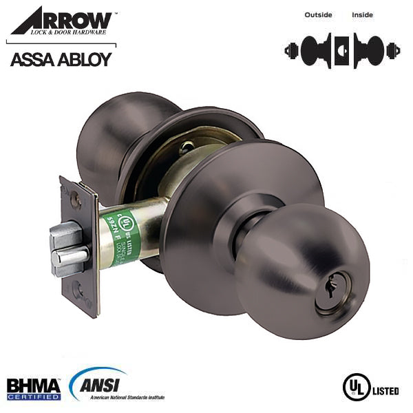 "Arrow - MK33BD - Commercial Knobset - 2-3/8"" Standard Backset - Oil Rubbed Bronze  - Asylum / Institution - Grade 2"