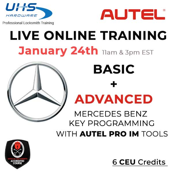 LIVE ONLINE TRAINING BUNDLE - Mercedes Benz - Basic & Advanced Key Programming with Autel Tools (January, 24th -11am & 3pm EST)