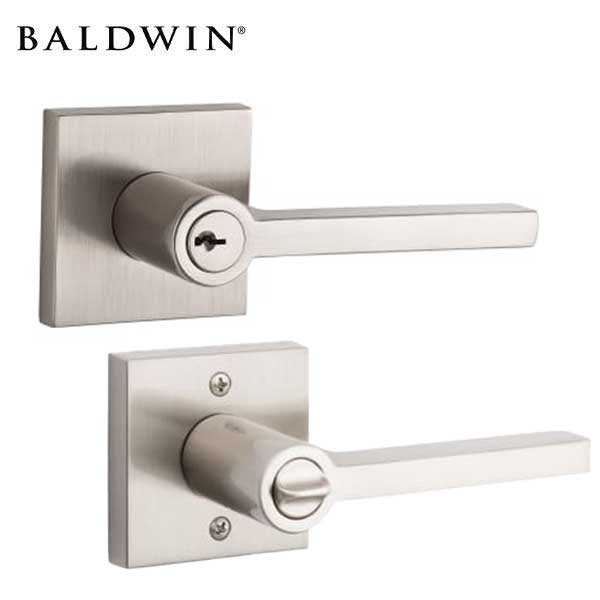 Baldwin Reserve - EN.SQU.CSR - Contemporary Square Lever - Square Rose - 150 - Satin Nickel - Entrance - Grade 2 - RH