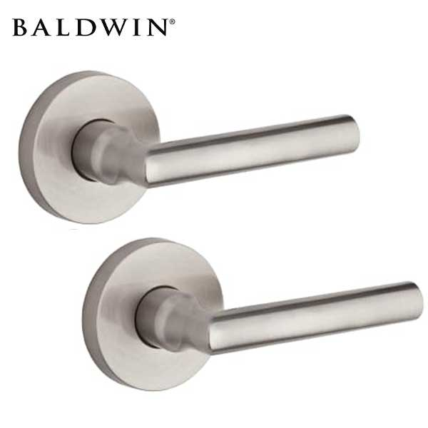 Baldwin Reserve - PS.TUB.CRR- Tubular Lever - Contemporary Round Rose - 150 - Satin Nickel - Passage - Grade 2 - RH