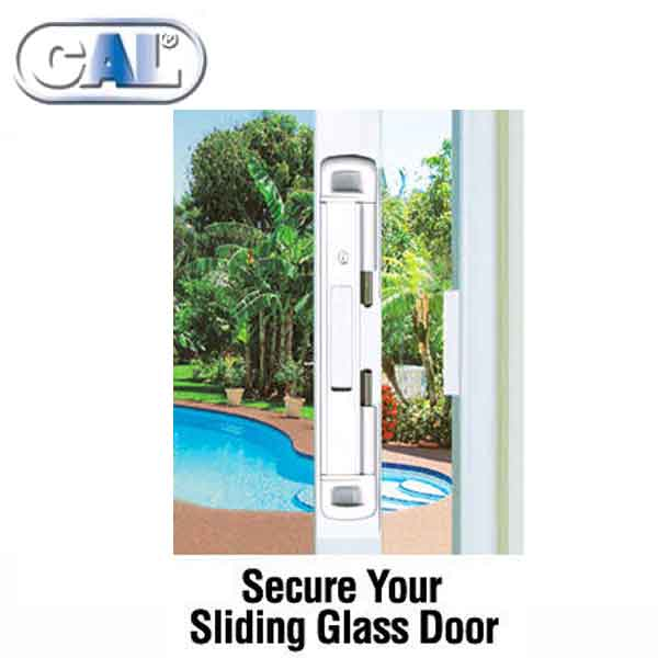 5 x CAL Double Bolt Lock - Sliding Glass Door Lock - White Finish