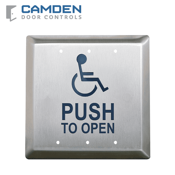 Camden CM-45/4 - Square Push Plate Switch - w/ Push to Open Sign - 4-1/2""