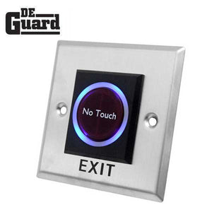 Contactless No Touch - Door Exit Button - Square - Stainless Steel Plate - NO/NC/COM - 12VDC