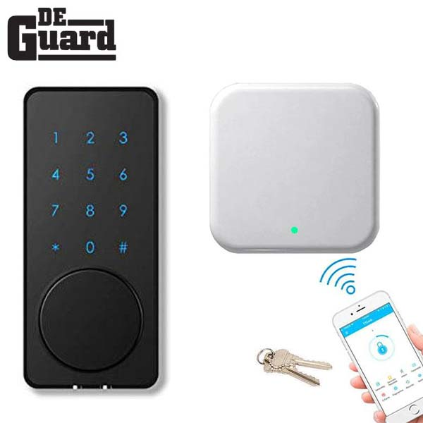 G2 Wifi Internet Gateway  & Electronic Bluetooth Touchscreen Deadbolt w/ Phone App & Key Override  (Silver / Black) (WiFi Bundle)