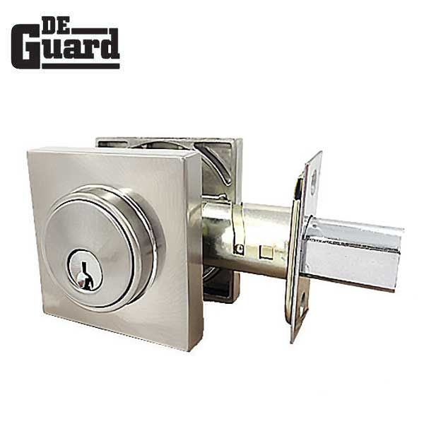 Premium Single Cylinder Contemporary Deadbolt - Square Rose - Satin Stainless -  Grade 3 - ( SC1 / KW1 )
