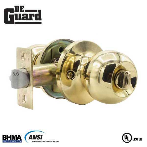 Premium Knobset - Polished Brass - Entrance - Grade 3 - ( SC1 / KW1 )