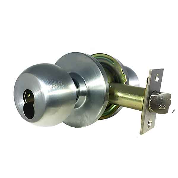 Commercial Door Knob - Grade 2 - IC Core -SFIC  - Satin Chrome - Entrance