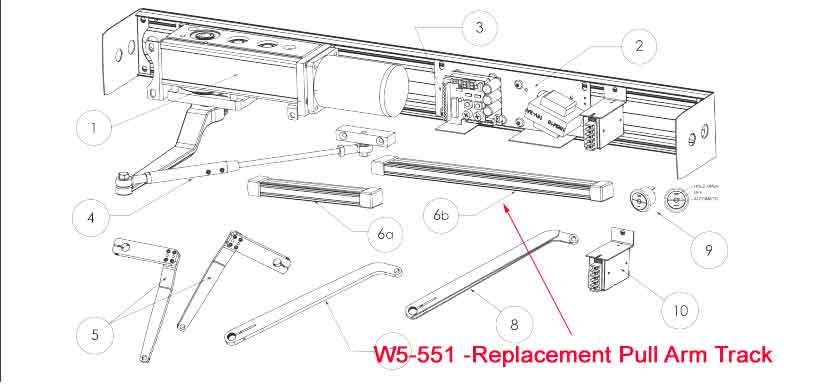 "Ditec - W5-556  Replacement Pull Arm Track Assembly (22"") for Universal Arm for HA8-LP Door Operator - Dark Bronze"