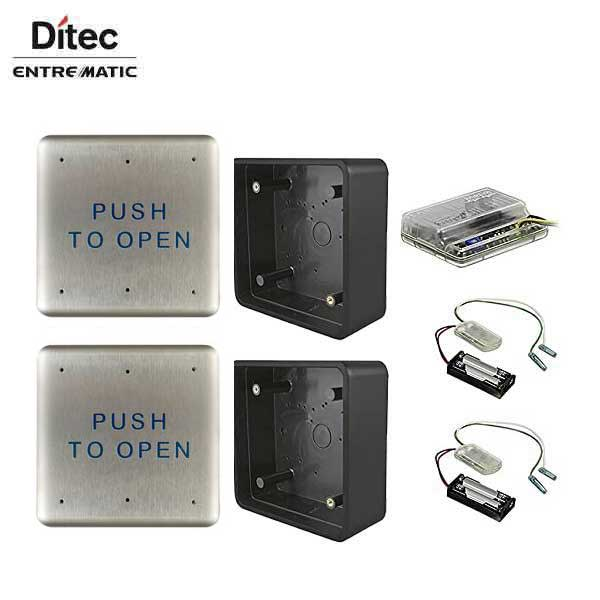 "Ditec - W6-133 - Wireless Push Button Activation Kit - 2- 4.5"" push plates  2 - mounting boxes  2 - transmitters  & 1 receiver"
