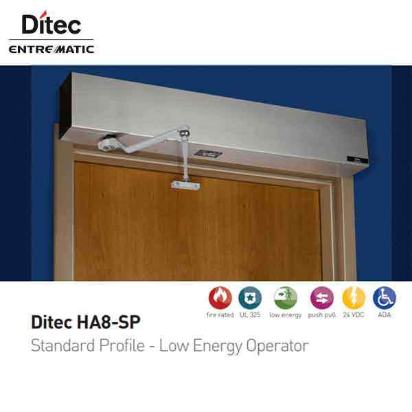 "Ditec - HA8-SP - Standard Profile Swing Door Operator - PULL Arm - Left Hand - Antique Bronze  (39"" to 51"") For Single Doors"