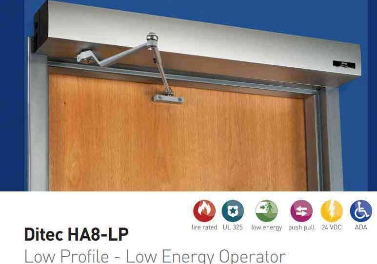 "Ditec - HA8-LP - Low Profile Swing Door Operator - PULL Arm - Right Hand - Clear Coat  (39"" to 51"") For Single Doors"
