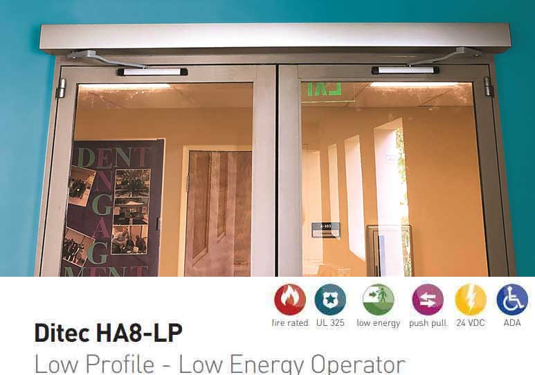 "Ditec - HA8-LP - Low Profile Swing Door Operator - Left PULL- Right PULL - Black - 75"" For Double Doors"