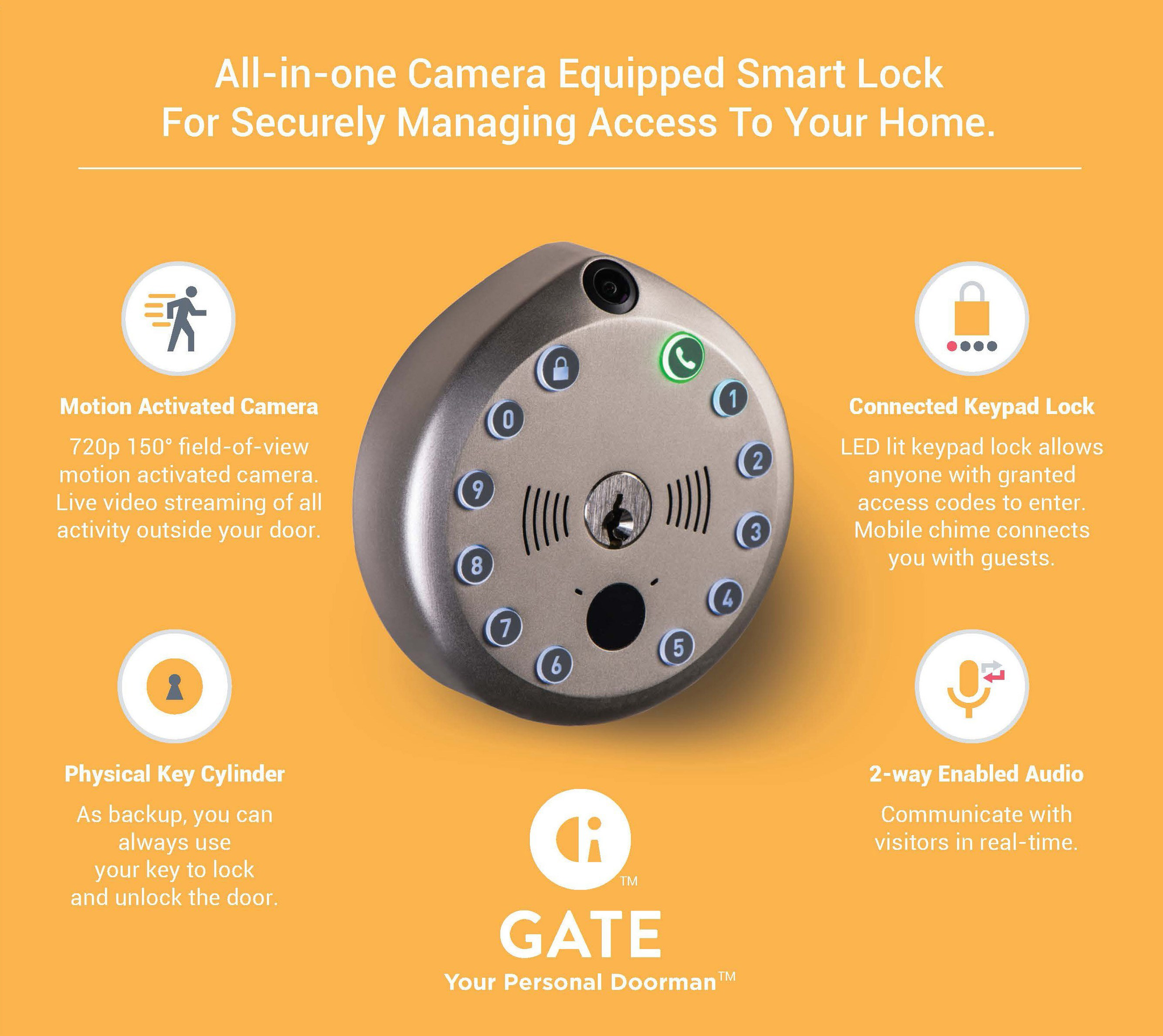 WiFi All-In-One Camera Deadbolt - w/ Multiple Functions - SC1 - Satin Nickel (GATE)