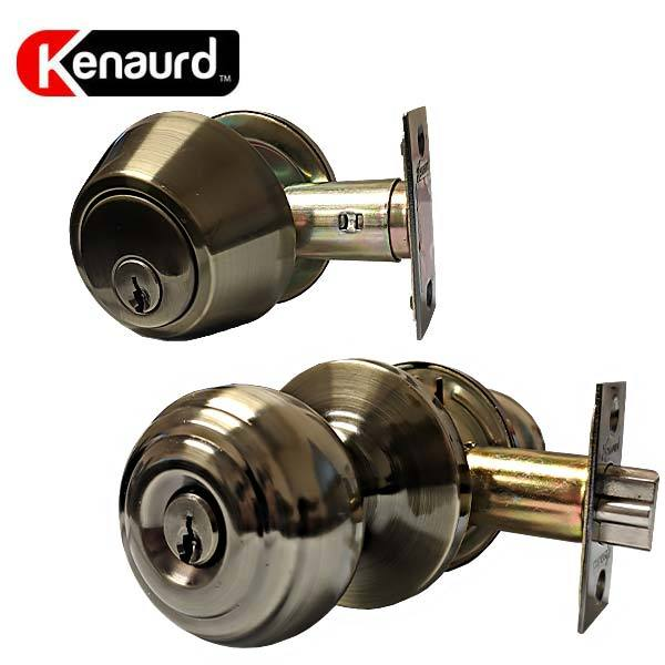 x12 Premium Combo Lockset - Knob & Deadbolt - Antique Brass - AB - SC1 (BUNDLE OF 12)