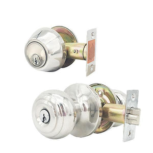 Premium Combo Lockset – Knob & Deadbolt – Bright Chrome – BC – KW1