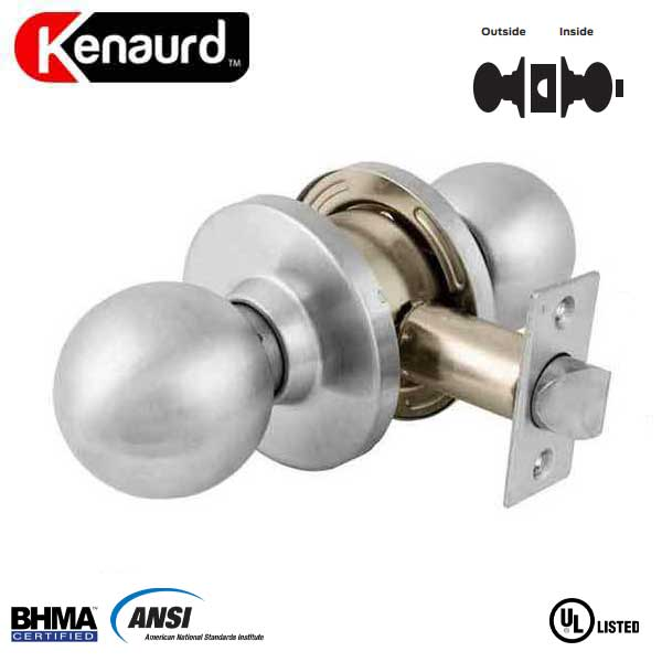 "Commercial Door Knob - 2-3/4"" Standard Backest - Satin Chrome - Privacy - Grade 2"