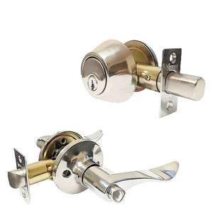 Premium Combo Lockset with Lever - Single Sided Deadbolt - Bright Chrome - SC1