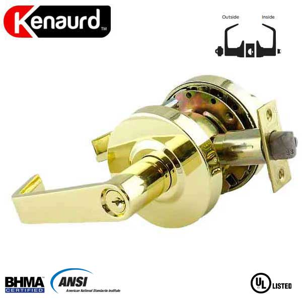 "Commercial Lever Handle - 2-3/4"" Standard Backset - Polished Brass - Entrance - Grade 2"