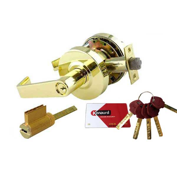 "Commercial Lever Handle - High Security KIK Cylinder - 2-3/4"" Standard Backset  - Polished Brass - Entrance - Grade 2"