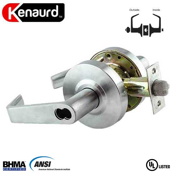 "Commercial Lever Handle - SFIC IC Core - 2-3/4"" Standard Backest - Satin Chrome - Entrance - Grade 2"