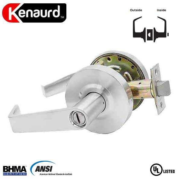 "Commercial Lever Handle - 2-3/4"" Standard Backest - Satin Chrome - Privacy - Grade 2"