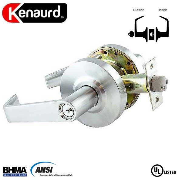 "Commercial Lever Handle - 2-3/4"" Standard Backest - Satin Chrome - Storeroom - Grade 2"