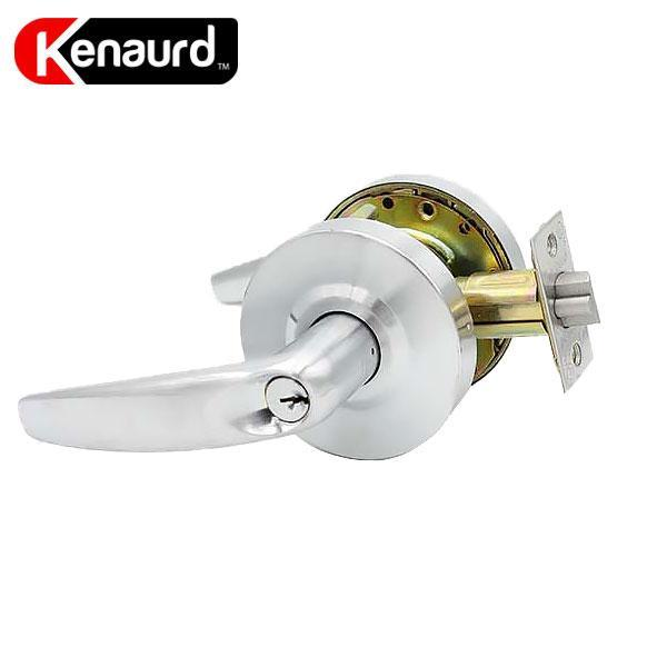 "Commercial Lever Handle - Contemporary Design - 2-3/4"" Standard Backset - Satin Chrome - Storeroom - Grade 2"