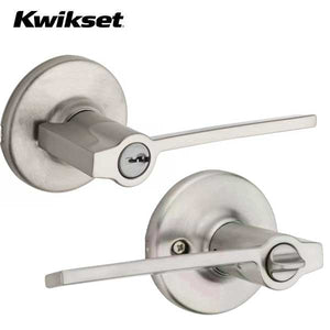 Kwikset - 405LRL- Ladera Lever - Round Rose - Entrance - 15 - Satin Nickel - Grade 3