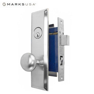 "Marks USA -114A/26D - Metro Mortise Knob Lock - US26D - 7-5/8"" x 1-1/16""- Entrance - LH"