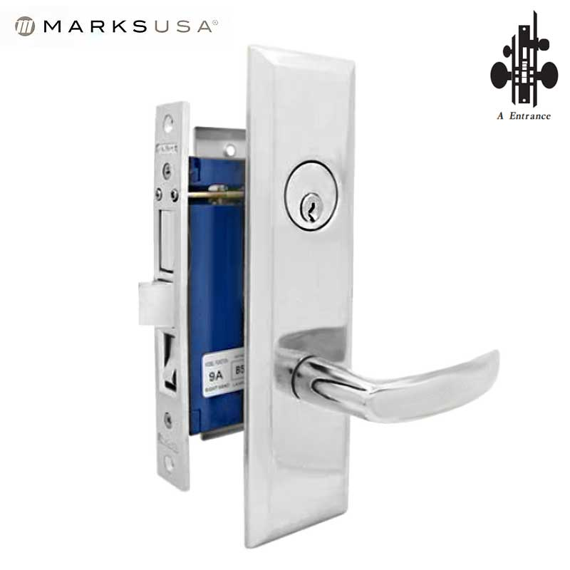 "Marks USA - 9NY96A-26D  - New York Mortise Lever Lock - U26D - 1-1/4"" X 8""- Entrance - RH"