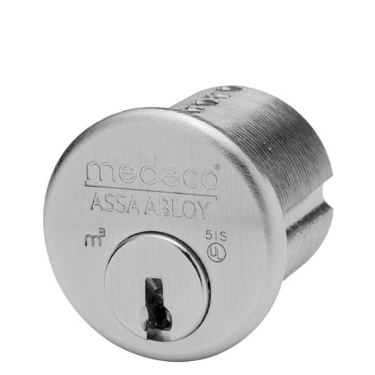 "Medeco Biaxal 1"" Mortise Cylinder - 26 - Satin Chrome"