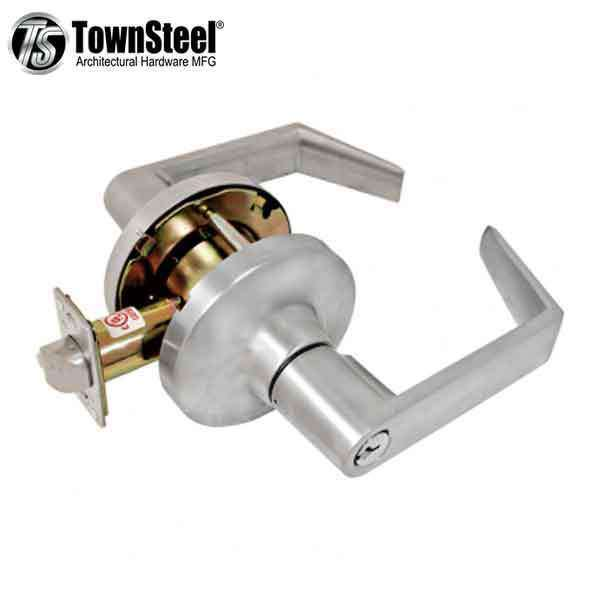 "TownSteel - CDC-84-S - Commercial Lever Handle  - Clutch Lever  - 2-3/4 "" Backset - Satin Chrome - Classroom -  Grade 1"
