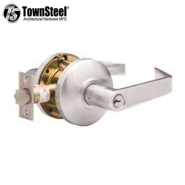 "TownSteel - CSRC-109-S - Commercial Lever Handle  - Clutch Lever  - 2-3/4 "" Backset - Satin Chrome - Entrance - Grade 2"