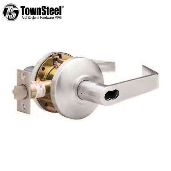 "TownSteel - CSRCI-109-S - Commercial Lever Handle - IC Core (SFIC) - Clutch Lever - 2-3/4 "" Backset - Satin Chrome - Entrance - Grade 2"