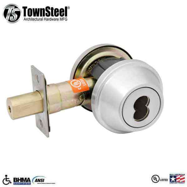 TownSteel - DBTI-61 - Commercial Deadbolt - Single IC Core (SFIC) - Satin Chrome -  Grade 2