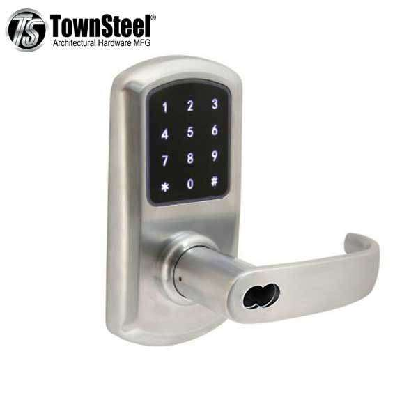 TownSteel - e-Elite 4010 - Electronic Push Button Lever Lock - RFID - IC Core (SFIC) - 2-3/4″ Backset - Rigid Lever - Satin Chrome  - Key Override - Grade 1
