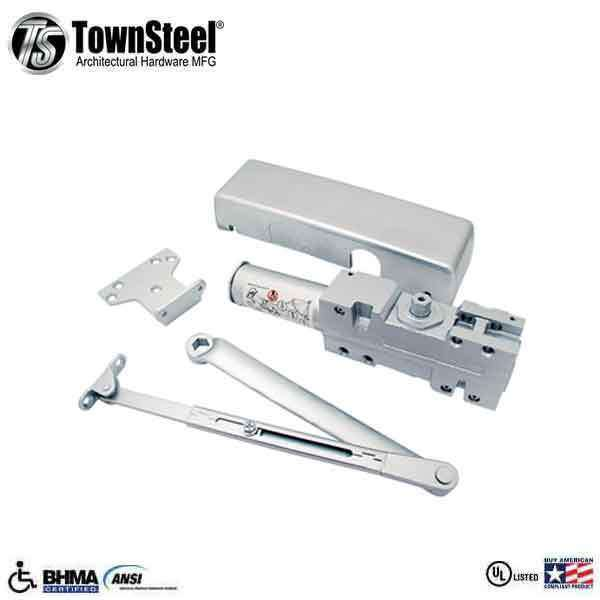 TownSteel - TDC40- Commercial Door Closer - Delayed Action -  Cast Iron w Aluminum Finish- Grade 1