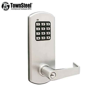 TownSteel - XCE2010S - Electronic Push Button Lever Lock - Rigid Lever - Satin Chrome - Grade 1