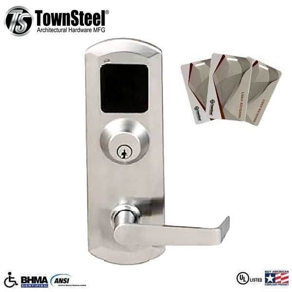 TownSteel - XRF2000 - RFID Reader  - Exit Device Trim for ED5500/ED5500F - Trim Only w/ Key Override - Satin Chrome