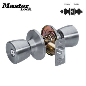 Master Lock - TUO0115KA4 - Tulip Style Door Knob - Satin Nickle - Entrance - KW1- Grade 3