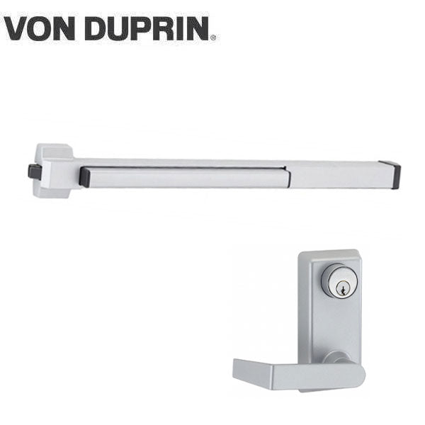 Von Duprin - 22L06 - Rim Exit Device with Trim Lever - Aluminum Finish - 3 Foot
