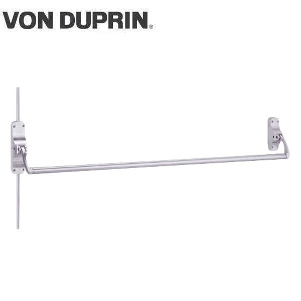 Von Duprin - 8827L - Surface Mounted Vertical Rod Exit Device - Exit Only - No Trim - Satin Chrome - 4 Foot - LHR