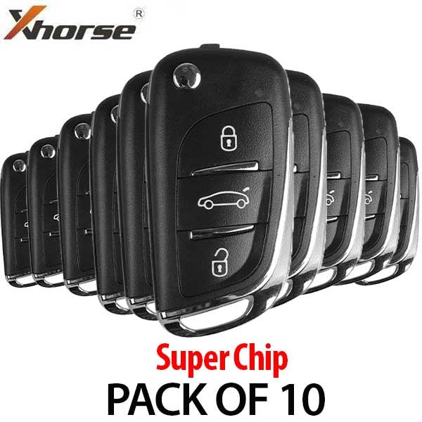 VVDI Super Remote / 3-Button Universal Remote Flip Key w/ Super Chip (Xhorse ) (BUNDLE OF 10)