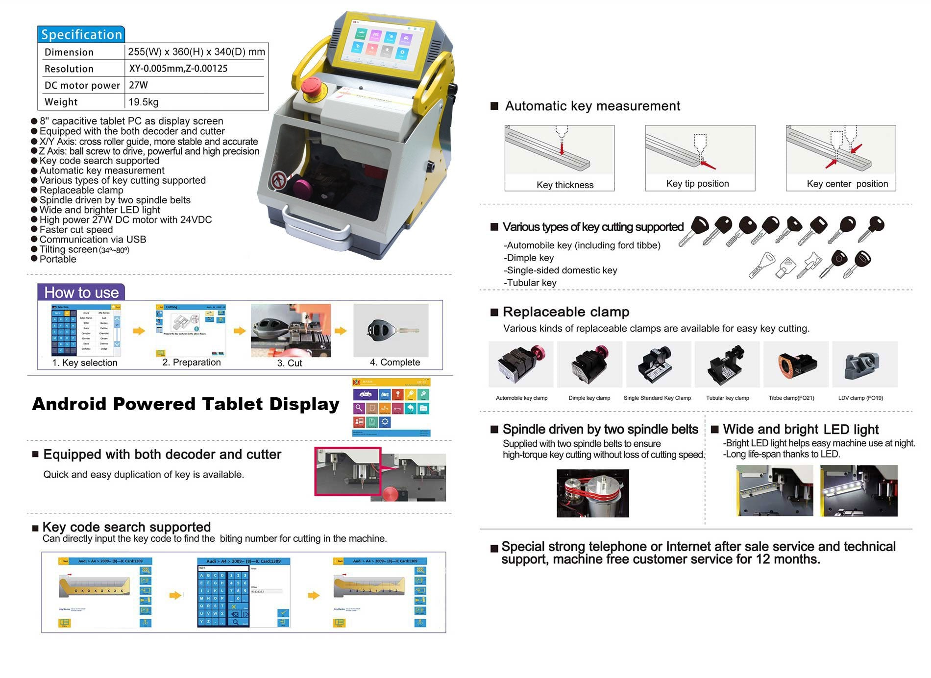 SEC-E9 Automatic Key Cutting Machine – DC Inverter Bundle – Newest Android Tablet Version 2019