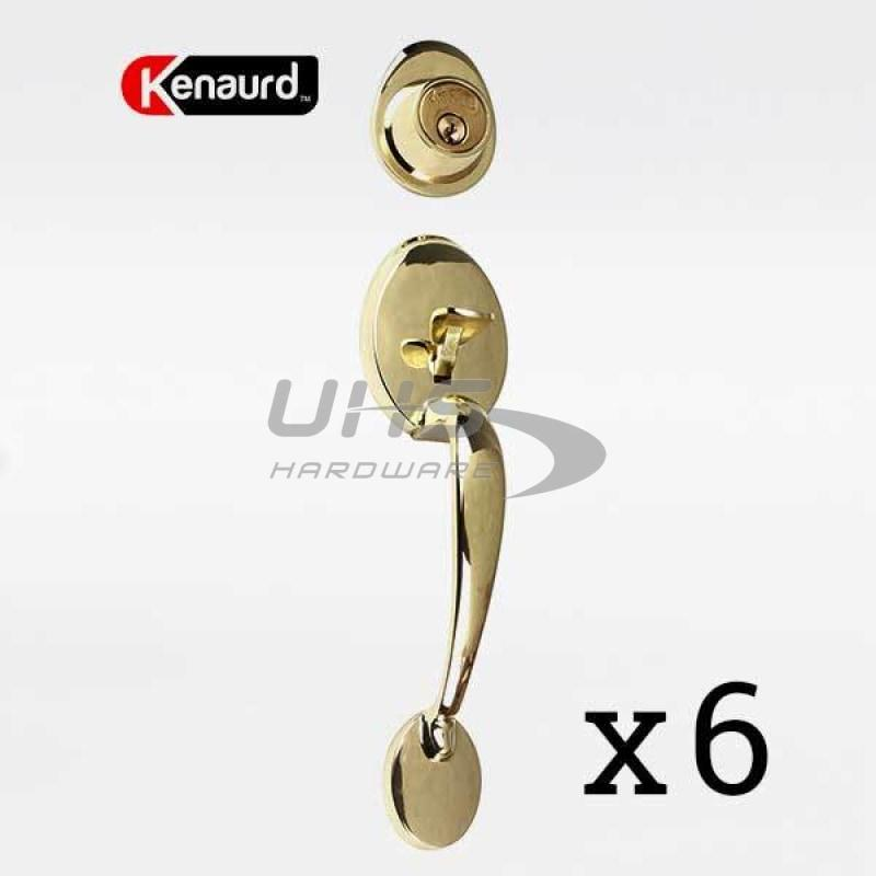 6 x Premium Design Handle Lockset - Bright Brass - Keyed Alike