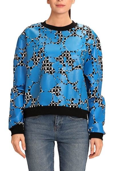 BALENCIAGA WOMEN PATTERNED BLUE SWEATSHIRT